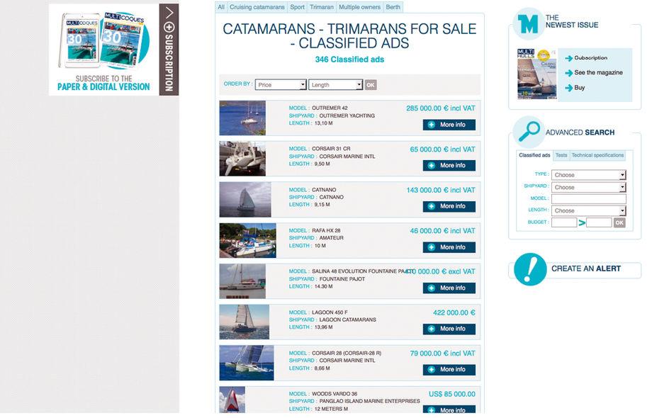 Achat catamarans et trimarans d'occasion