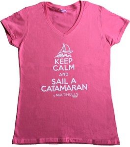 T-SHIRT FEMME KEEP CALM AND SAIL A CAT